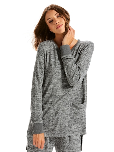 Charcoal Fuzzy Long Sleeve Top