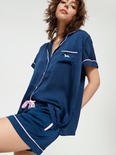 Navy Chic Satin Pj Set