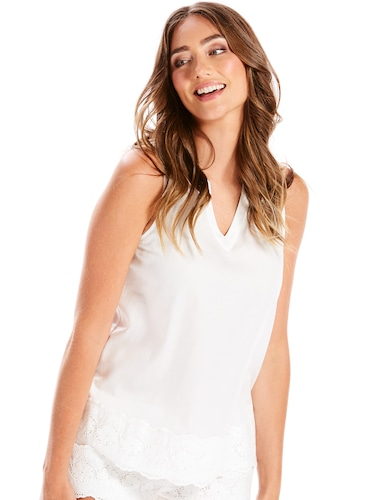 White Embroidery Camisole