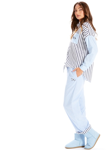 Striped Turn Up Flannelette Pj Pant