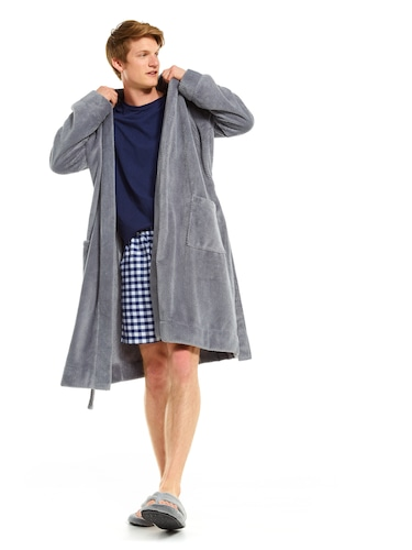 Mens Jacquard Fleece Gown