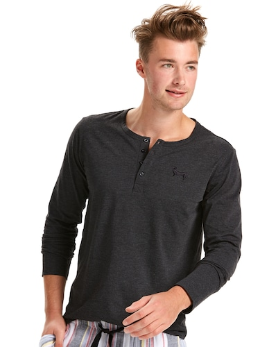 Mens Super Soft Charcoal Henley