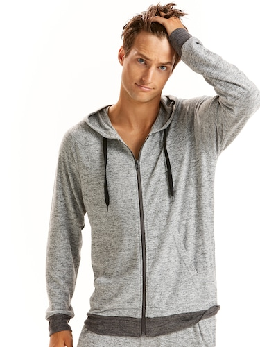 Mens Heather Knit Zip Hoodie