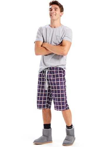 Mens Windowpane Sleep Short