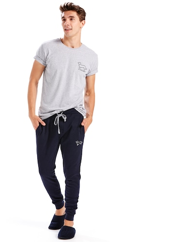 Mens Navy Fleece Pj Pant