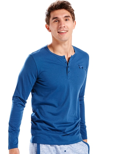 Mens Super Soft Navy Henley