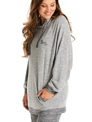 Fuzzy Grey Hooded Sweater