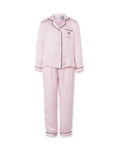 Girls Long Pink Chic Satin Pj Set