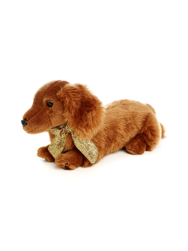Penny Dog Gold Bow Plush Toy