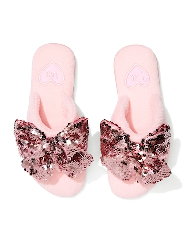 Pink Plush Sparkle Towelling Thongs