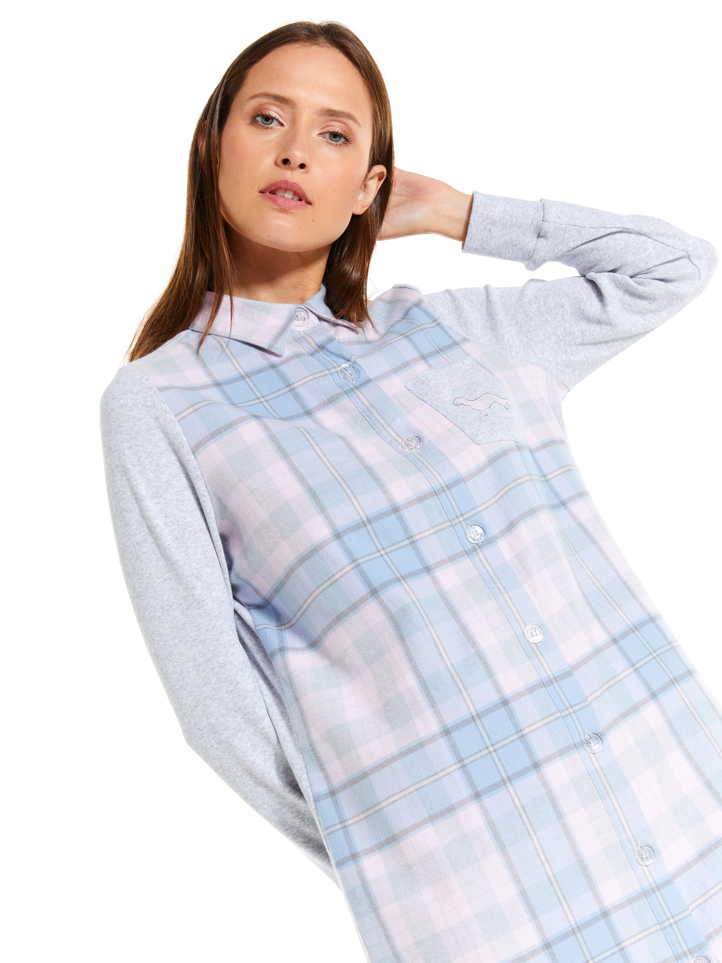 Chambray Check Flannelette Nightshirt