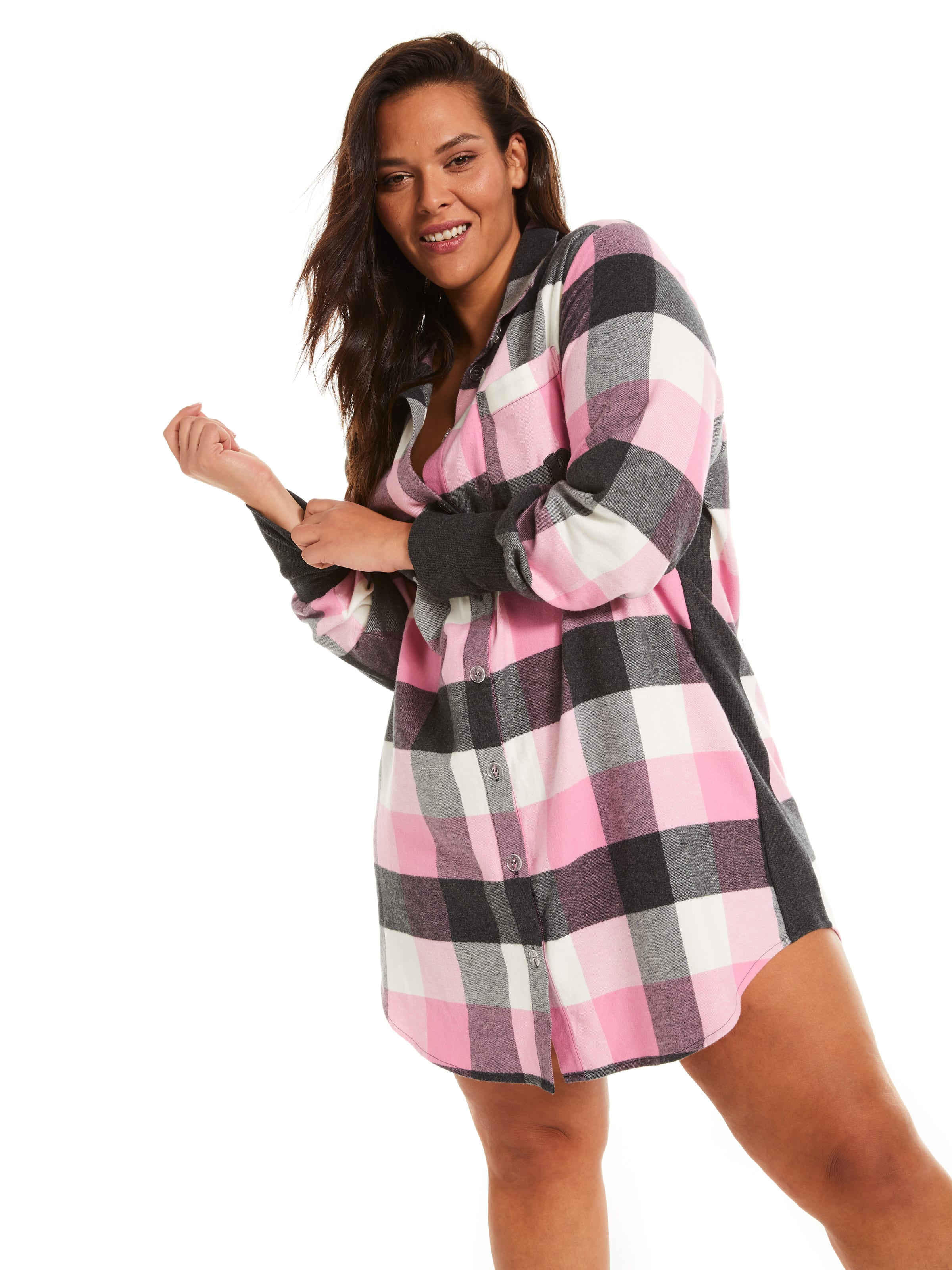 P.A. Plus Charcoal Buffalo Check Flannelette Nightshirt