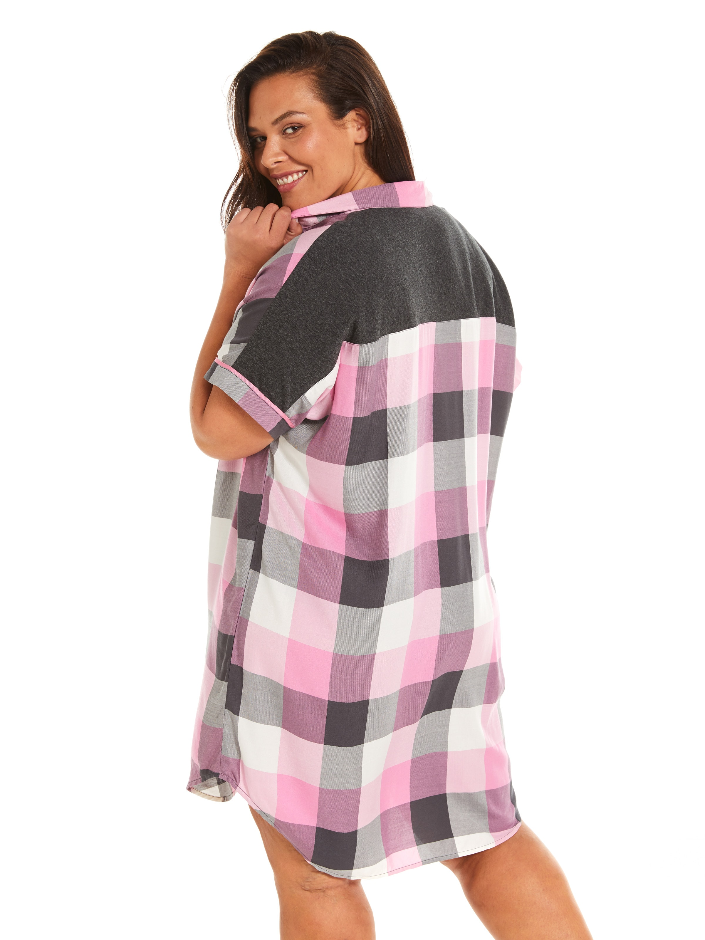 P.A. Plus Charcoal Buffalo Check Nightshirt