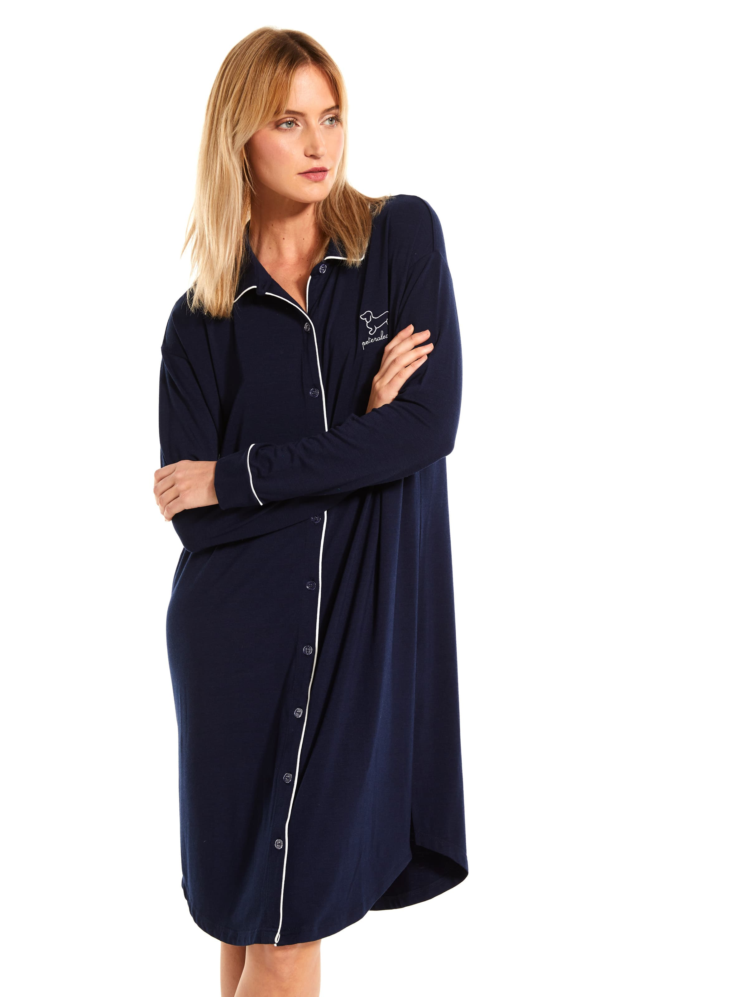 Navy Chic Long Sleeve Nightshirt