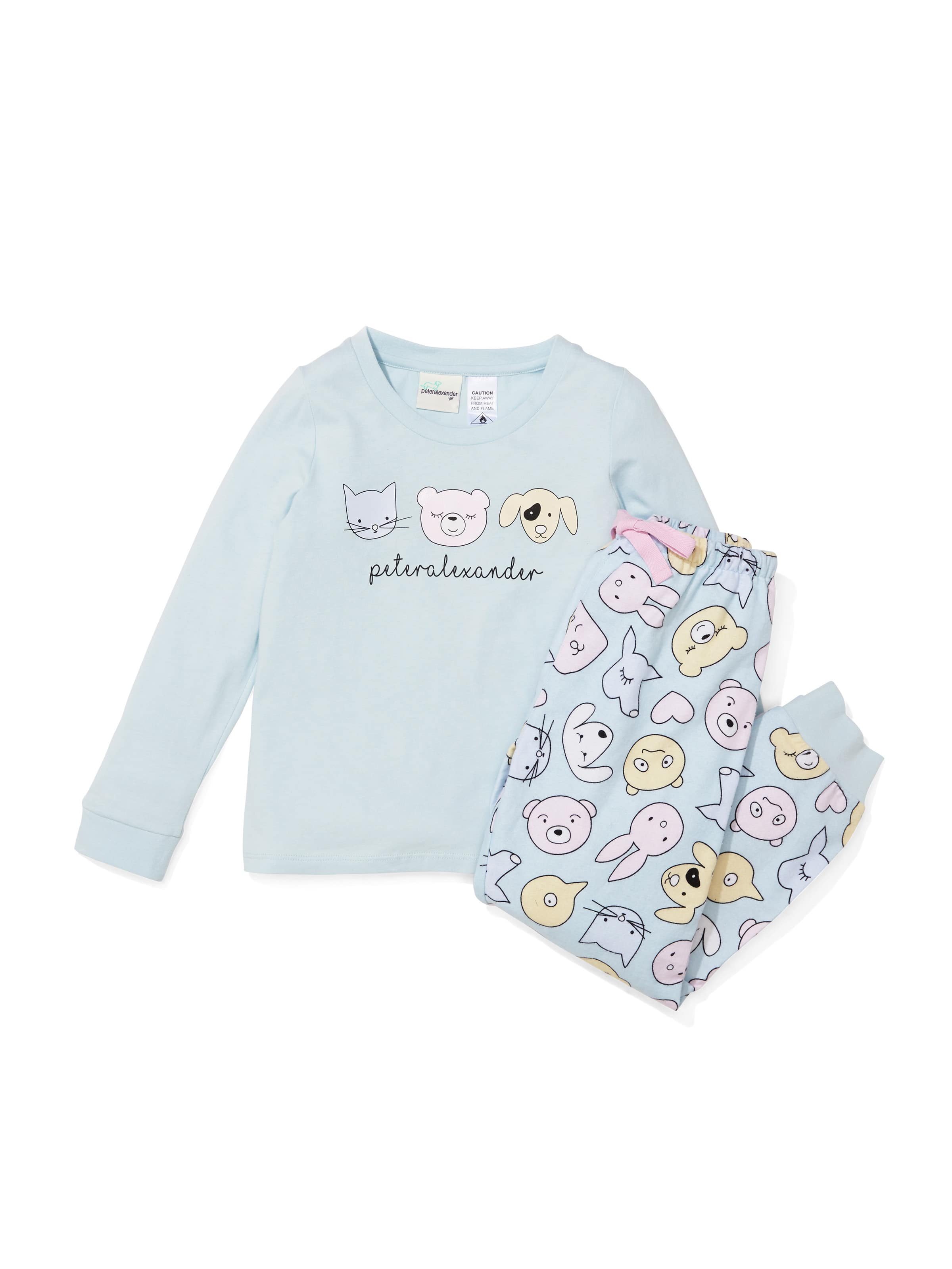 Girls Cute Animal Flannelette Pj Set
