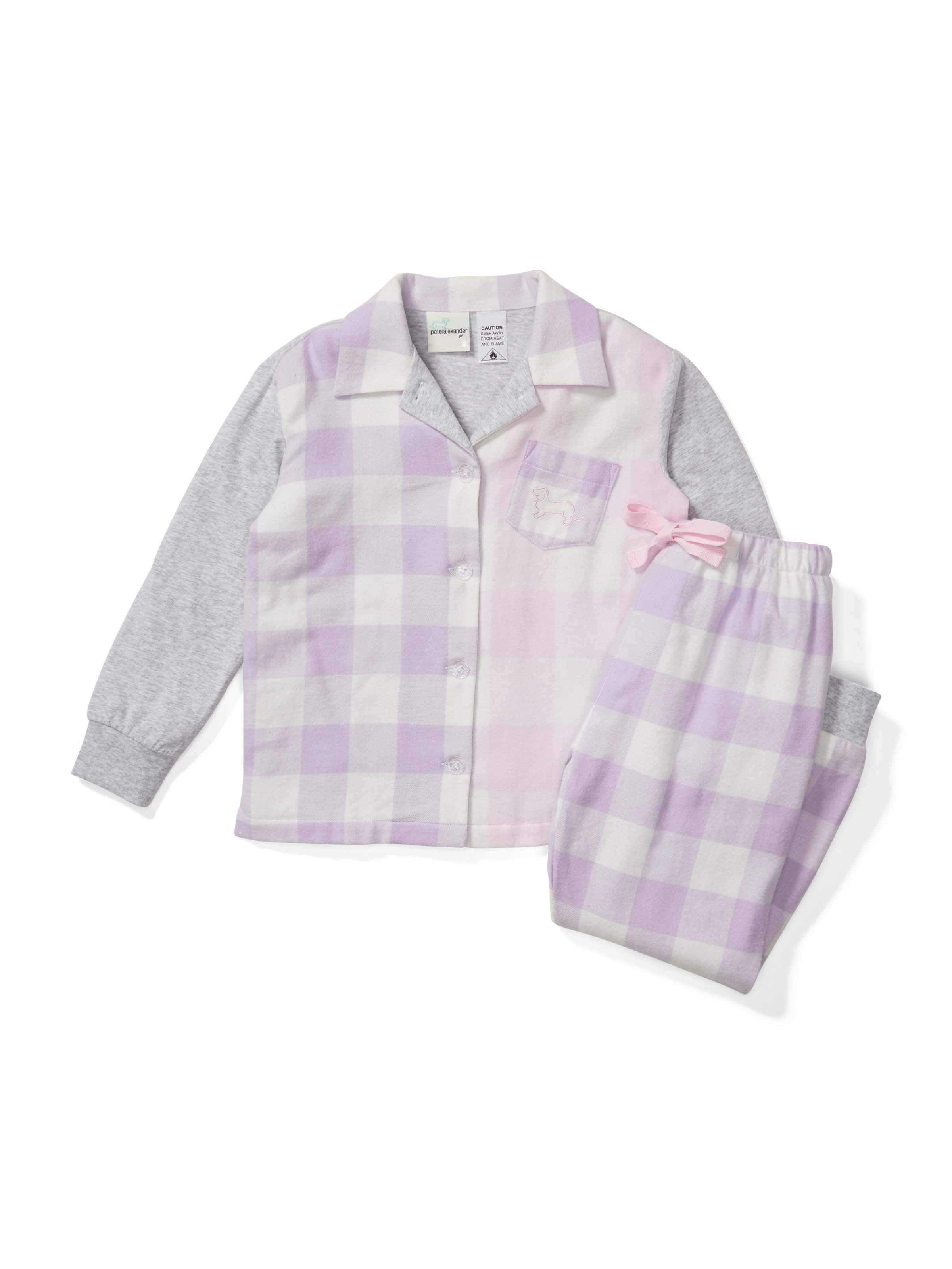 Jnr Girl Gingham Flannelette Long Pj Set