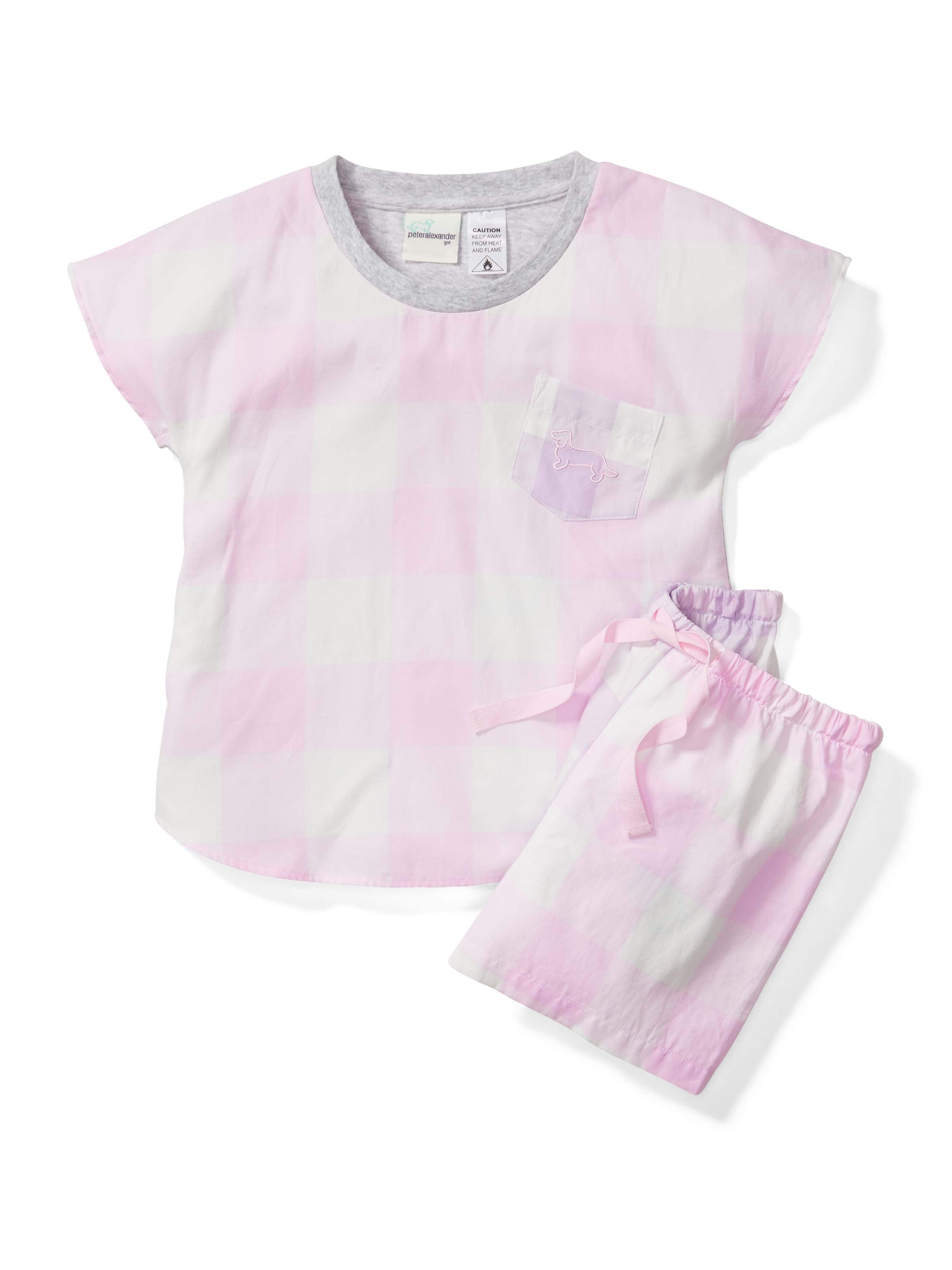 Jnr Girl Gingham Short Pj Set