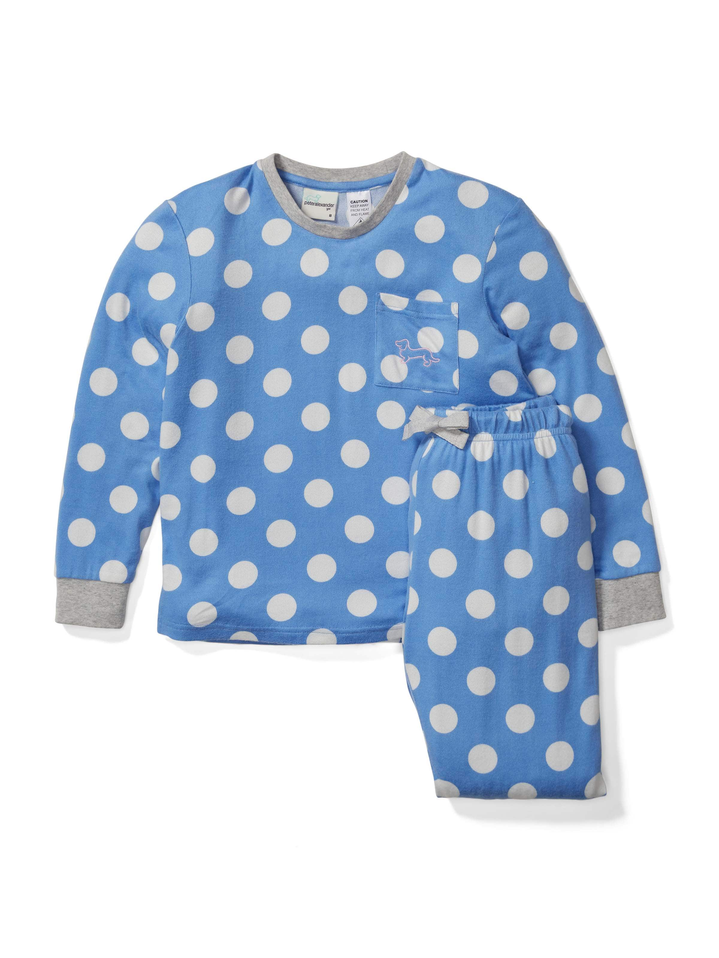 Girls Blue Spot Fuzzy Pj Set